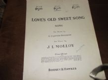 ANTIQUE ORIGINAL SHEET MUSIC LOVE'S OLD SWEET SONG J L MOLLOY G CLIFTON BINGHAM